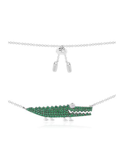 纯银镶薄荷绿晶钻小鳄鱼造型项链