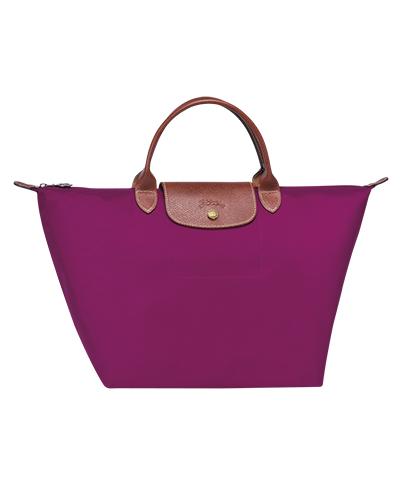 Longchamp珑骧Le Pliage系列短柄梅子色手包