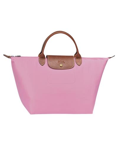 Longchamp珑骧Le Pliage系列短柄粉色手包