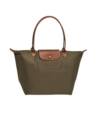 Longchamp珑骧Le Pliage系列长柄卡其色购物包