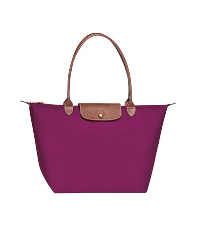 Longchamp珑骧Le Pliage系列长柄梅子色购物包