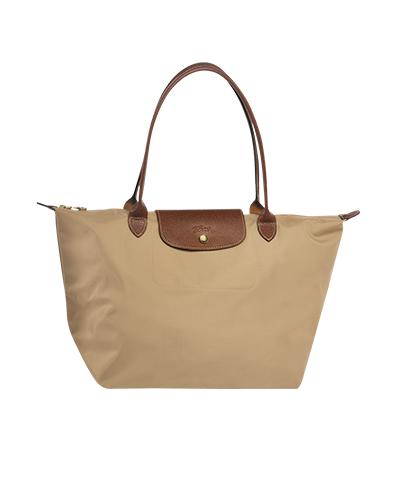 Longchamp珑骧Le Pliage系列长柄米色购物包