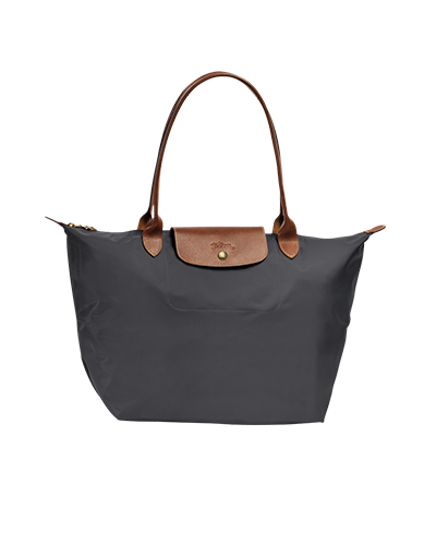 Longchamp珑骧Le Pliage系列长柄金属灰色购物包