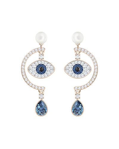 swarovski Duo Evil Eye Pierced Earrings