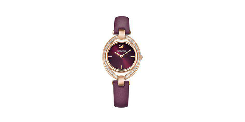 Swarovski-Stella-Watch-Leather-strap-Dark-red-Rose-gold-tone-5376839-2