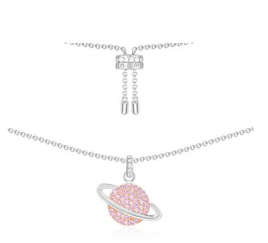 纯银镶晶钻粉色星球项链 APM纯银镶晶钻粉色星球项链 APM monaco纯银镶晶钻粉色星球项链