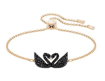 Swarovski施华洛世奇Iconic黑天鹅玫瑰金手链