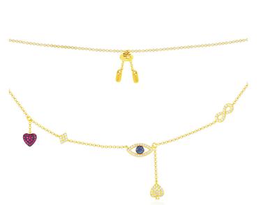 APM monaco金黄色纯银镶晶钻幸运符项链