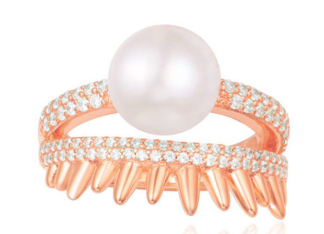 PINK SILVER'SPIKE' RING WITH PEARL