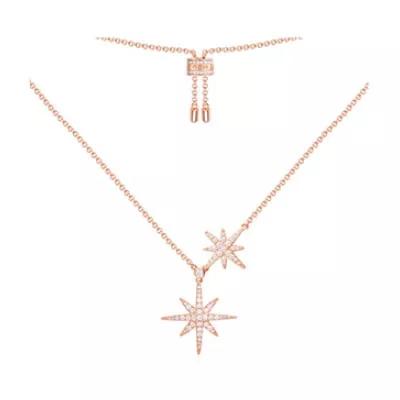 APM Monaco 粉金色纯银镶晶钻双流星项链