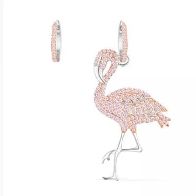 APM Monaco不对称纯银镶粉色晶钻火烈鸟造型耳环