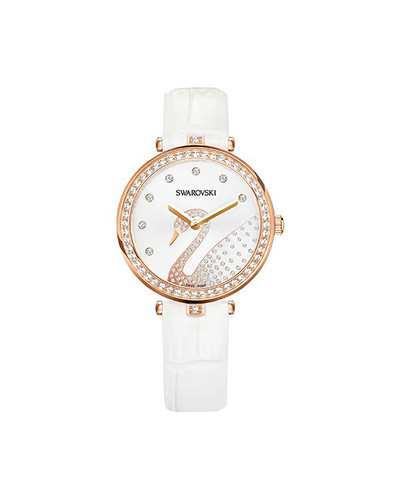 Swarovski-Aila-Dressy-Lady-Swan-Watch-Leather-strap-White-Rose-gold-tone-5376639-W600