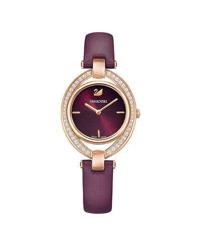 Swarovski-Stella-Watch-Leather-strap-Dark-red-Rose-gold-tone-5376839-2